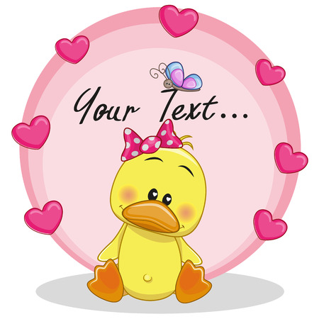 Greeting card Duck girl with hearts
