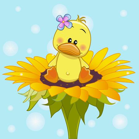 Cute cartoon Duck on the flower Illustration