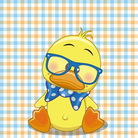 pato caricatura: Pato Hipster en un fondo a cuadros Vectores