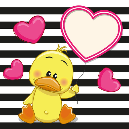 Valentine card with Duck with heart frame Çizim
