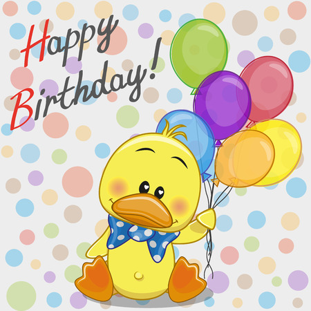 Greeting card Duck with balloons Illustration