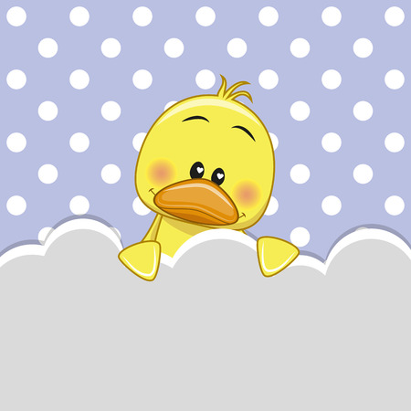 lamb cartoon: Duck peeking out from behind the clouds Illustration