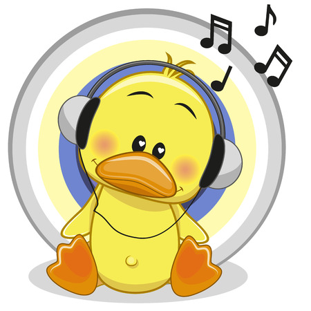 Cute cartoon Duck with headphones Çizim