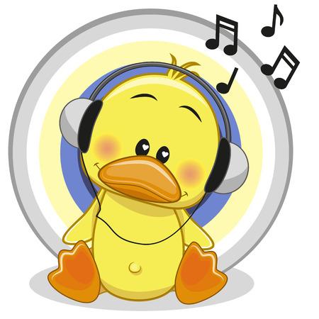 Nette Karikatur-Ente mit Kopfhörern Standard-Bild - 38328880