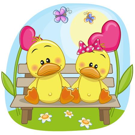 Valentine card with Lovers Ducks Illustration