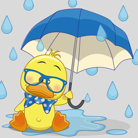 yellow duck: Greeting card Duck with umbrella