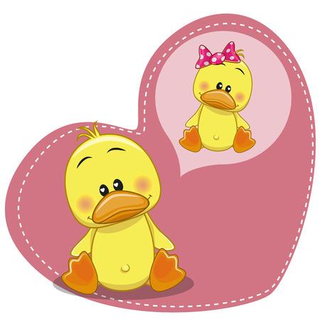 cartoon duck: Greeting card Cute Dreaming Duck