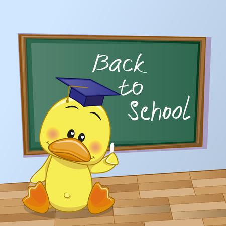 Cartoon Duck wrote chalk on a blackboard Illustration