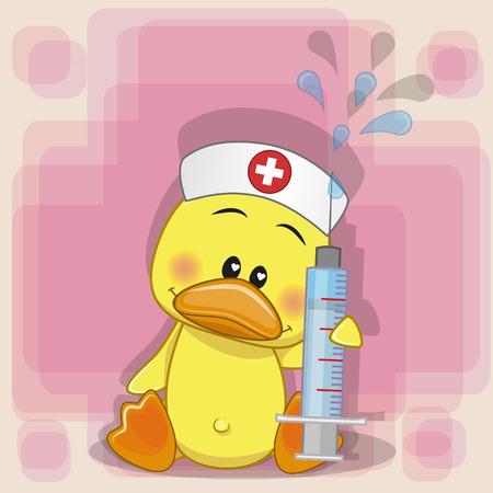彼の手に注射器で鴨看護師