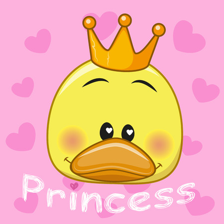 crown cartoon: Princess Duck with hearts on a pink background Illustration
