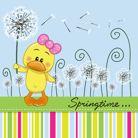 sad cute baby: Greeting card Cute Duck with dandelion on a meadow