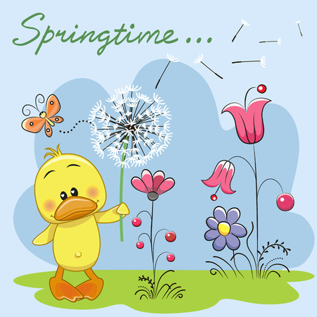 Cute Duck with dandelion on a meadow Illustration