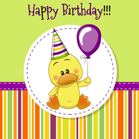 caricaturas de animales: Tarjeta de felicitaci�n linda del pato con el globo y el cap� Vectores