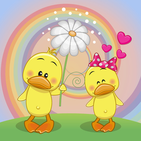 Valentine card with two Ducks on a meadow Vector