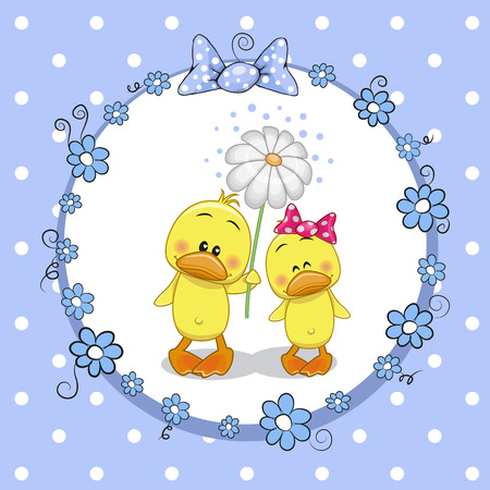 two ducks: Greeting card with two Ducks in a frame