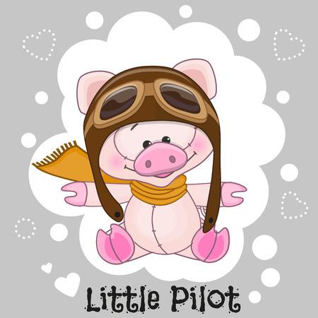 pilotos aviadores: Cerdo lindo de la historieta en un sombrero de piloto