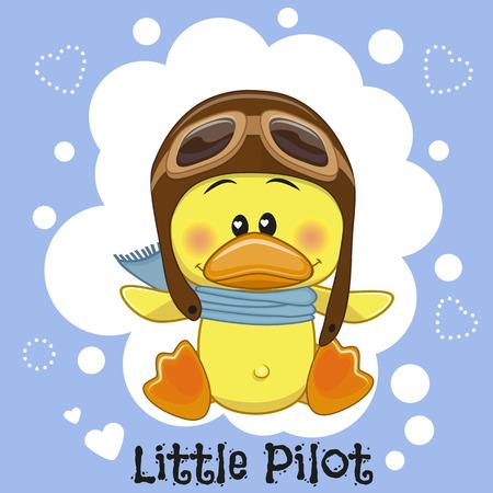 pato caricatura: Pato lindo de la historieta en un sombrero de piloto Vectores