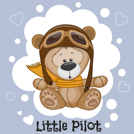 pilotos aviadores: Historieta linda del oso de peluche en un sombrero de piloto