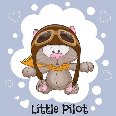 piloto: Gato lindo de la historieta en un sombrero de piloto