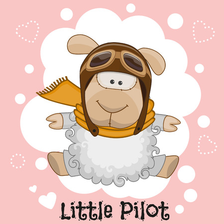 latin american boys: Cute cartoon Sheep in a pilot hat