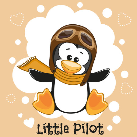 boy with glasses: Cute cartoon Penguin in a pilot hat
