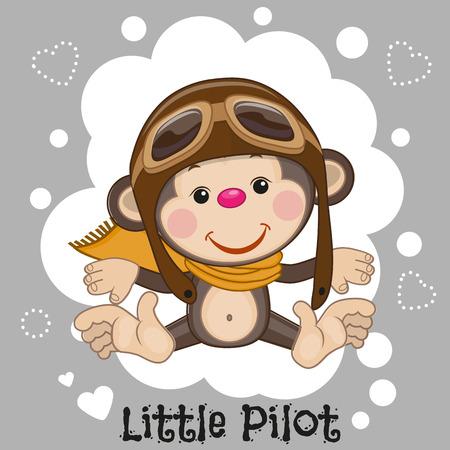 hispanic boy: Cute cartoon Monkey in a pilot hat