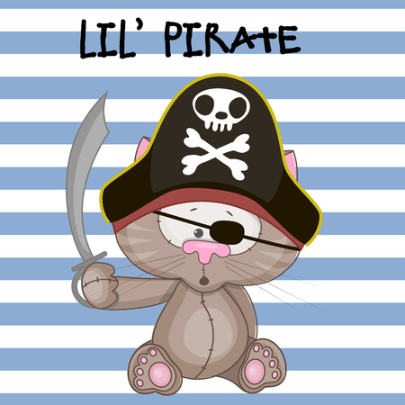 drapeau pirate: Cat mignon de bande dessinée dans un chapeau de pirate