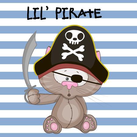sombrero pirata: Gato lindo de la historieta en un sombrero de pirata