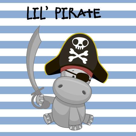 sombrero pirata: Hipopótamo lindo de la historieta en un sombrero de pirata