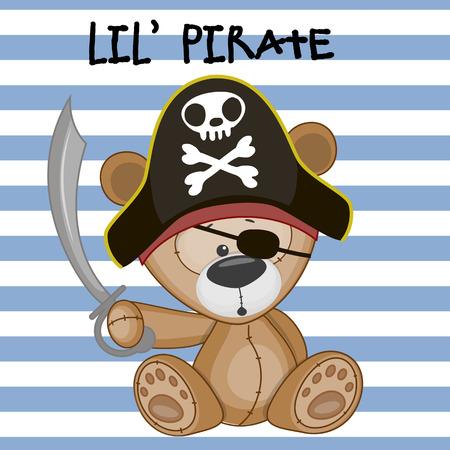 osos de peluche: Historieta linda del oso de peluche en un sombrero de pirata Vectores