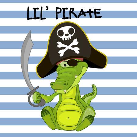sombrero pirata: Cocodrilo lindo de la historieta en un sombrero de pirata Vectores