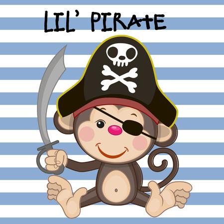 Mono lindo de la historieta en un sombrero de pirata Foto de archivo - 38998991