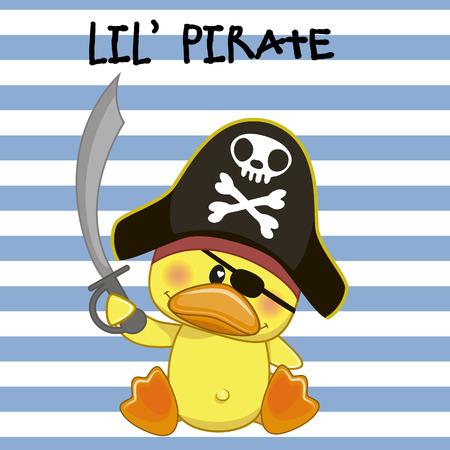 sombrero pirata: Pollo lindo de la historieta en un sombrero de pirata