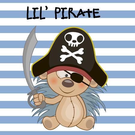 h�risson cartoon: Mignon de bande dessin�e de h�risson dans un chapeau de pirate