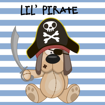 Cute cartoon Dog in a pirate hat Vector