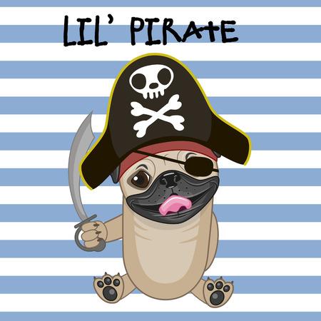 sombrero pirata: Perro lindo de la historieta en un sombrero de pirata Vectores