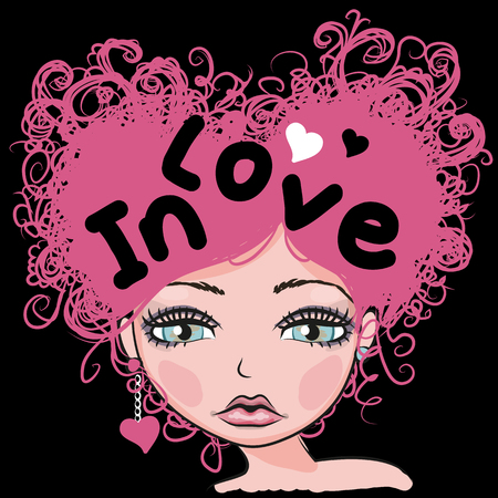 sad teenage girl: Portrait of Cute Girl with pink curly hair Illustration