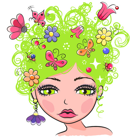 Portrait of Cute Girl with green curly hair with flowers and butterflies
