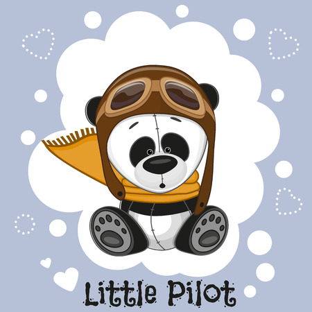 cartoon bear: Cute cartoon Panda in a pilot hat Illustration