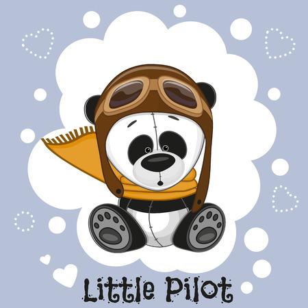 one panda: Cute cartoon Panda in a pilot hat Illustration