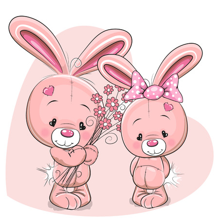 cartoon present: Greeeting card rabbit boy gives flowers to a rabbit girl Illustration