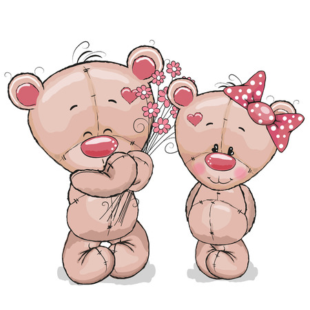 teddy: Greeeting card Teddy boy gives flowers to a Teddy girl Illustration