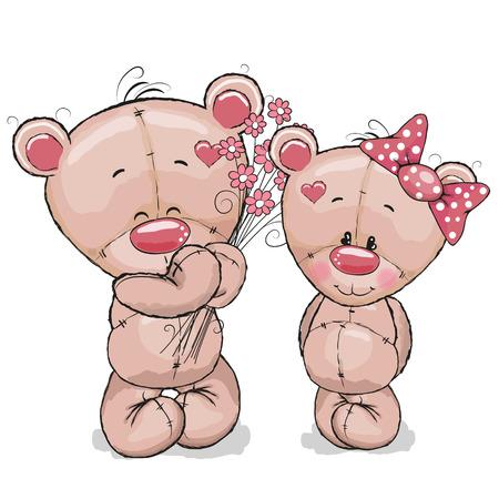 caricaturas de animales: Greeeting tarjeta de peluche niño da flores a una chica de peluche