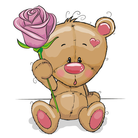 Greeting card Teddy Bear with flower Vettoriali