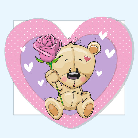 sad cute baby: Greeting card Teddy Bear and a flower Illustration