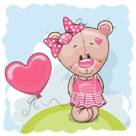cartoon bear: Greeting card Teddy Bear girl with balloon on the meadow