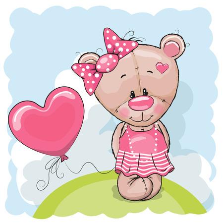caricaturas de animales: Tarjeta de felicitación del oso de peluche niña con el globo en el prado