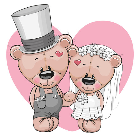 Teddy Bride and Teddy groom on a heart background Çizim