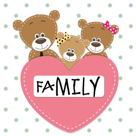 oso caricatura: Familia de Tres osos y un corazón