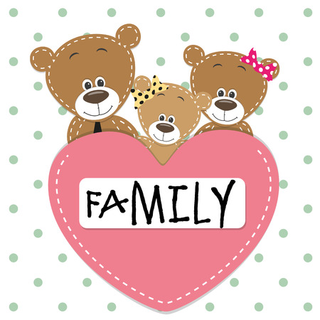 teddy bear cartoon: Family of Three bears and a heart